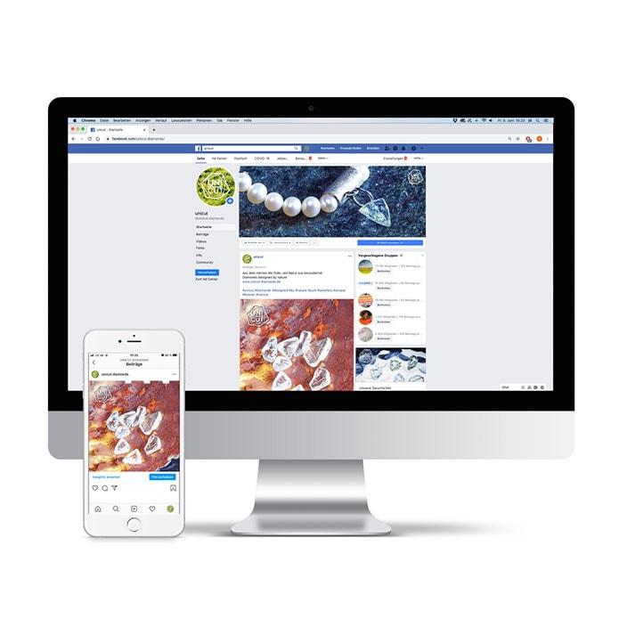 Screenshot von Facebook und Instagram Content Creation