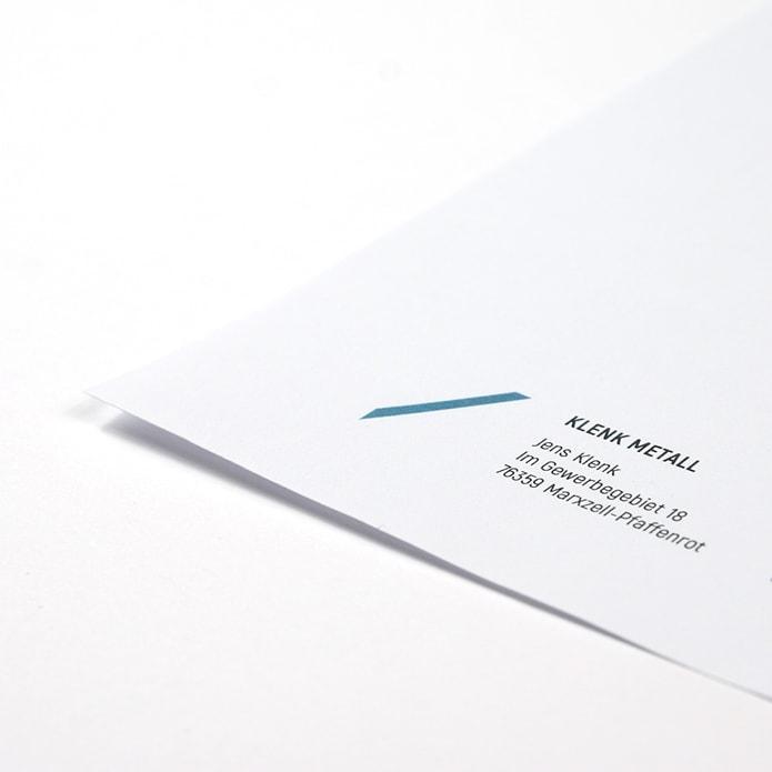 Gestaltungselement auf Briefpapier für Metallverarbeiter