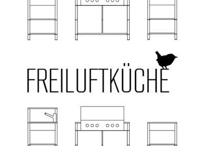 Logo für Outdoor Küchenhersteller mit Vogel und technischen Illustrationen