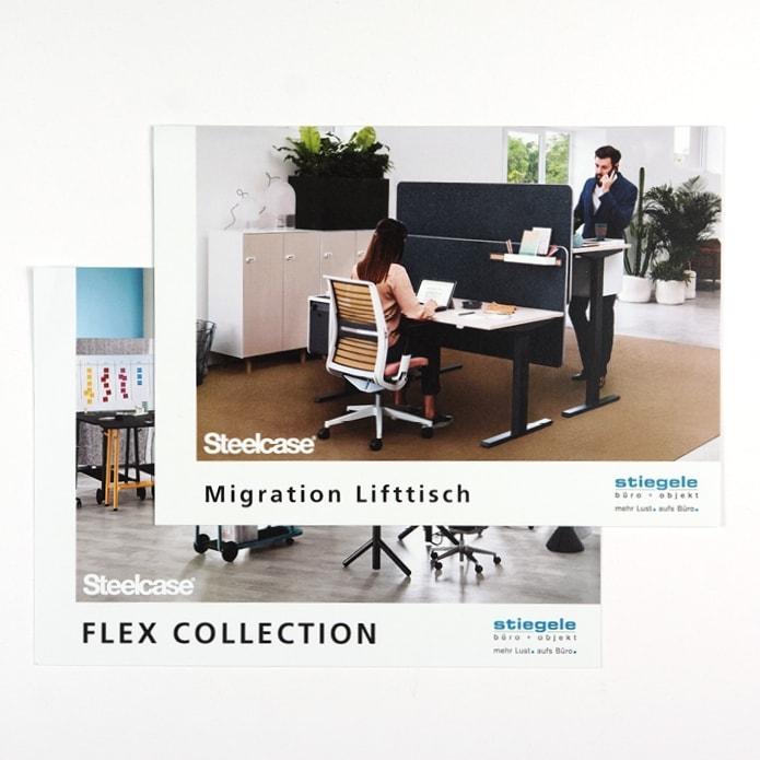Professionell gestaltete Flyer für Büromöbel in Pforzheim