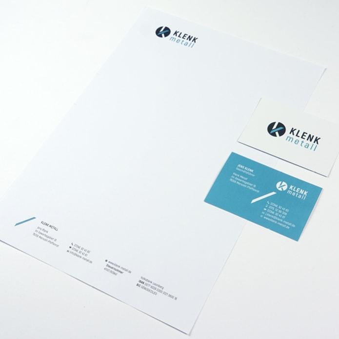 Visitenkarte und Briefpapier im Corporate Design für Industrie