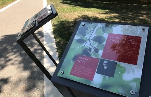 Gestaltung von Tafeln mit Besucherinformationen Glückstein Park Mannheim