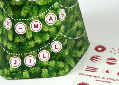 Faltbare Weihnachtsmail im Tannenbaum Look