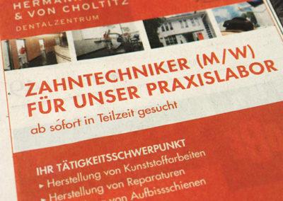 Professionell gestaltete Anzeige mit Jobangeboten