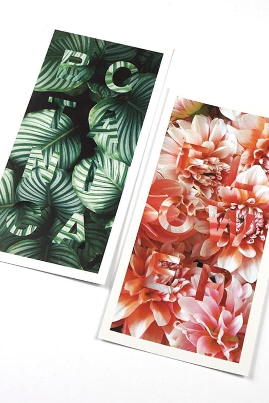 Postkarten Design mit floralen Motiven