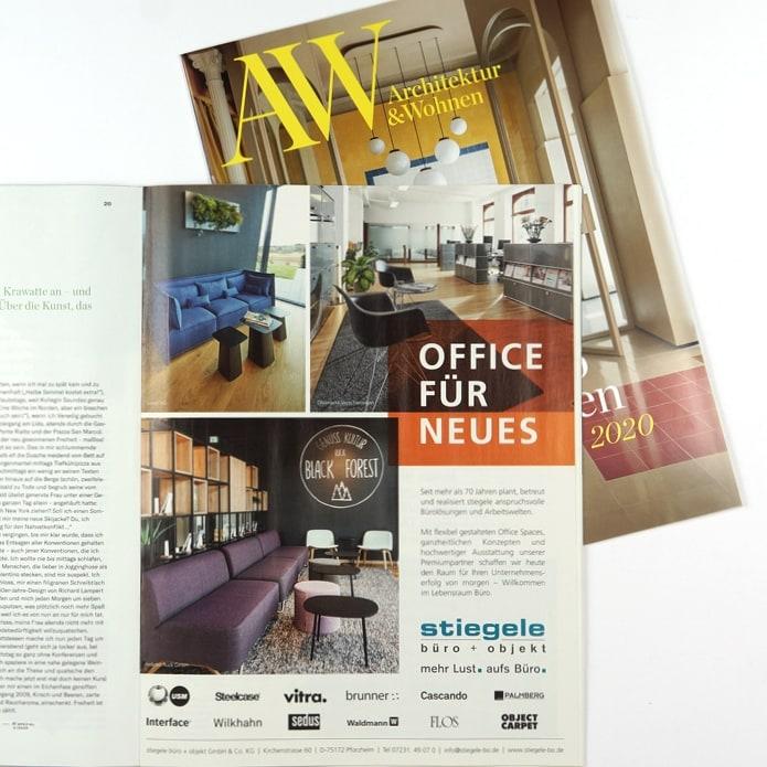 Full Page Anzeige in Architektur und Wohnen für Büroausstatter