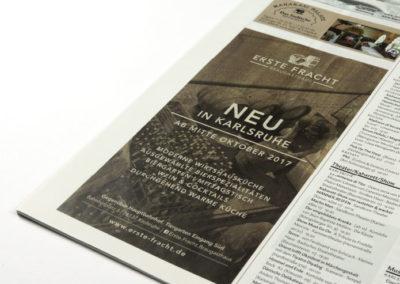 Design für Werbung in Magazin bei Neueröffnung