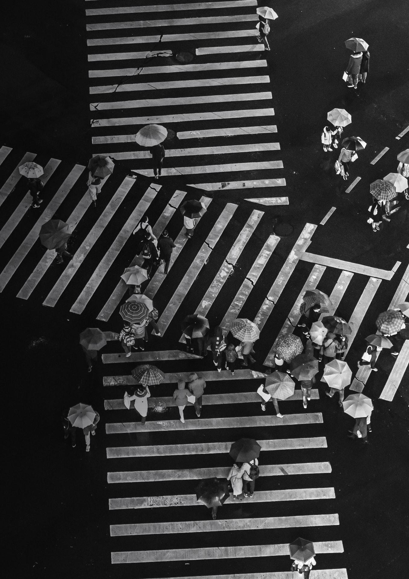Zebrastreifen als Symbol für unterschiedliche Wege in der Vermarktung
