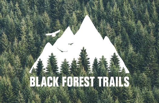 Weiße Logo Gestaltung auf Schwarzwald Hintergrund