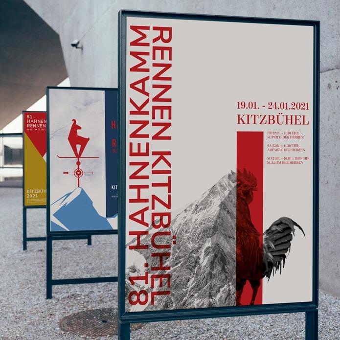 Reihe von professionellen Plakatentwürfen für Rennen in Kitzbühel