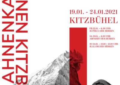 Plakatgestaltung mit Berg und Hahn für Skirennen
