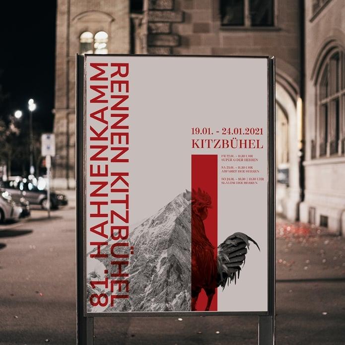 Plakatgestaltung für Skirennen in Kitzbühel