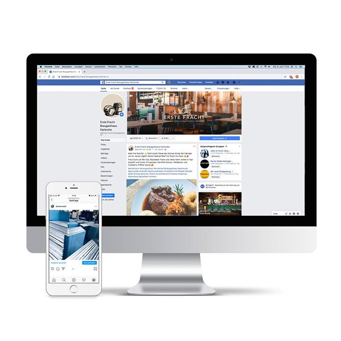 Screenshot von Facebook und Instagram Marketing