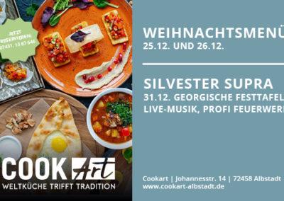 Gestaltung Anzeige Weihnachten und Silvester Menüs in Restaurant