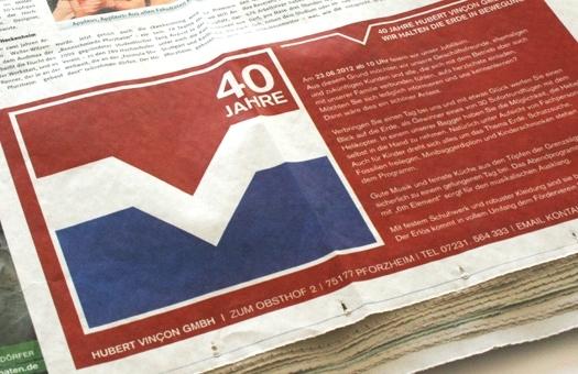 Design für Anzeige in Tageszeitung zum Firmenjubiläum